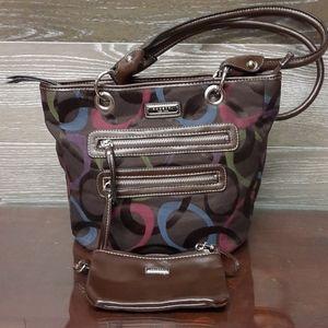 Rosetti tri- colour hand bag and money purse